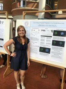 Margaret McCoy standing next to research poster