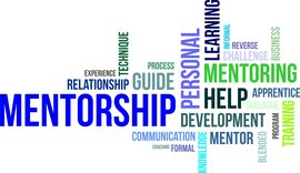 A word cloud of mentorship related items