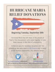 Map of Puerto Rico with American Flag, information about fund raiser, Venmo & United for Puerto Rico logos