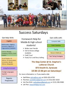 Poster with pictures of students and information about Success Saturdays