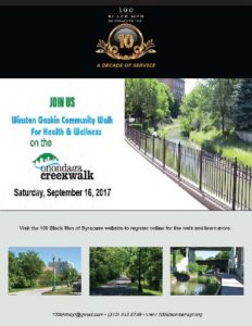 Poster with pictures of Onondaga Creekwalk and event information