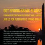 """Washington DC skyline at sunset with inset words that read """"Got Spring Break Plans?"""""""