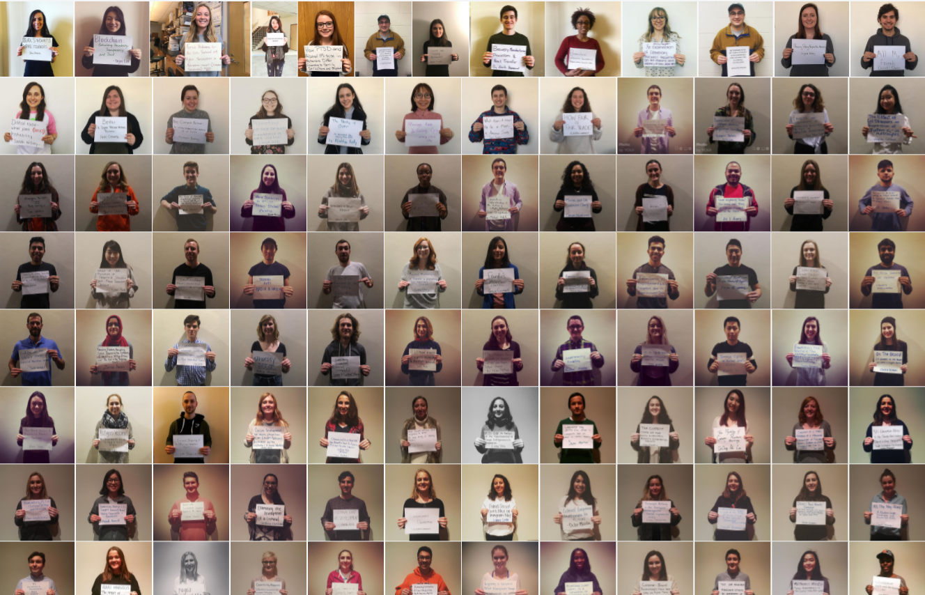 tiny images of students holding up their capstone titles