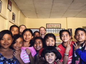 Student with children in Bali