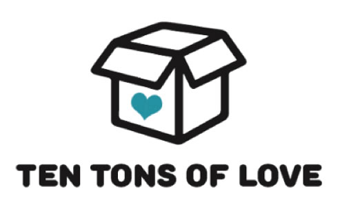 Ten-Tons-of-Love logo, box with a heart on it, words below