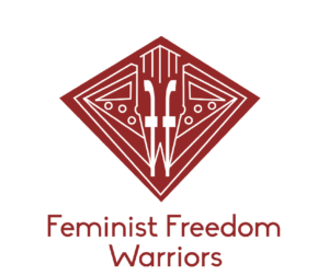 Feminist Freedom Warriors logo which is stylized tip of fountain pen in a diamond geometric pattern