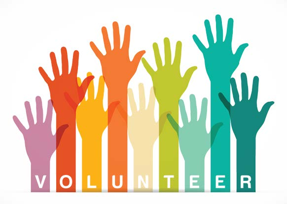 Rainbow colored arms and hands of different lengths being raised and the word volunteer beneath the raised hands