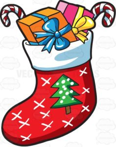 cartoon Christmas stocking stuffed with wrapped gifts