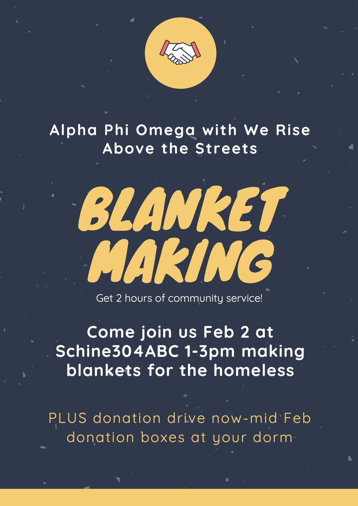 Blanket making event poster, all text from poster appears in post