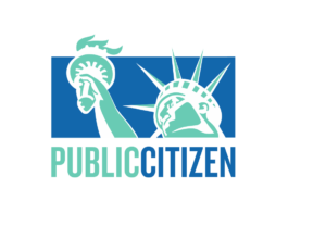 Public Citizen logo which is a close up head shot graphic in green of the statue of liberty's head and torch against a blue background