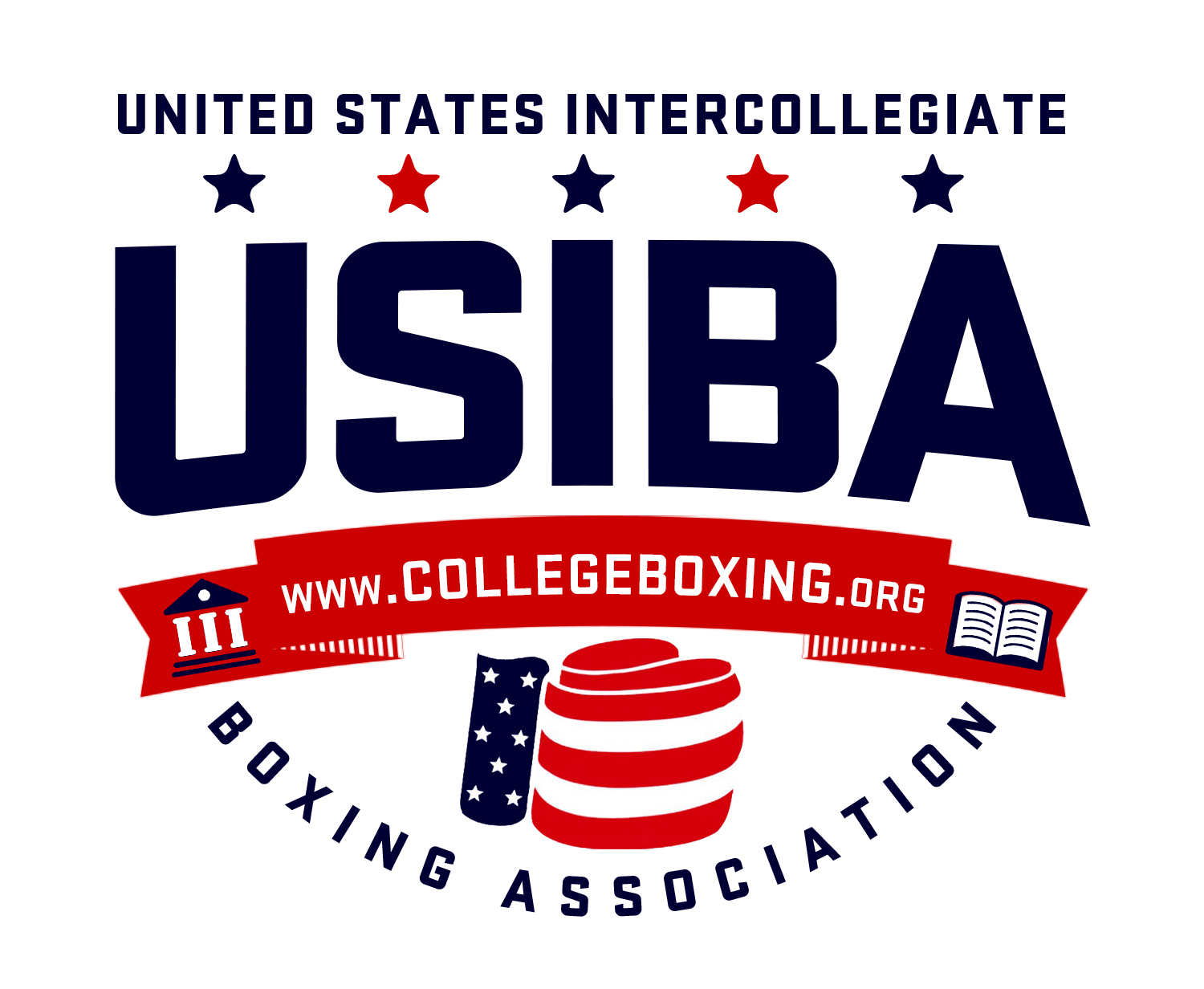 United States Intercollegiate Boxing Association logo--blue capital letters over stars and stripes boxing glove