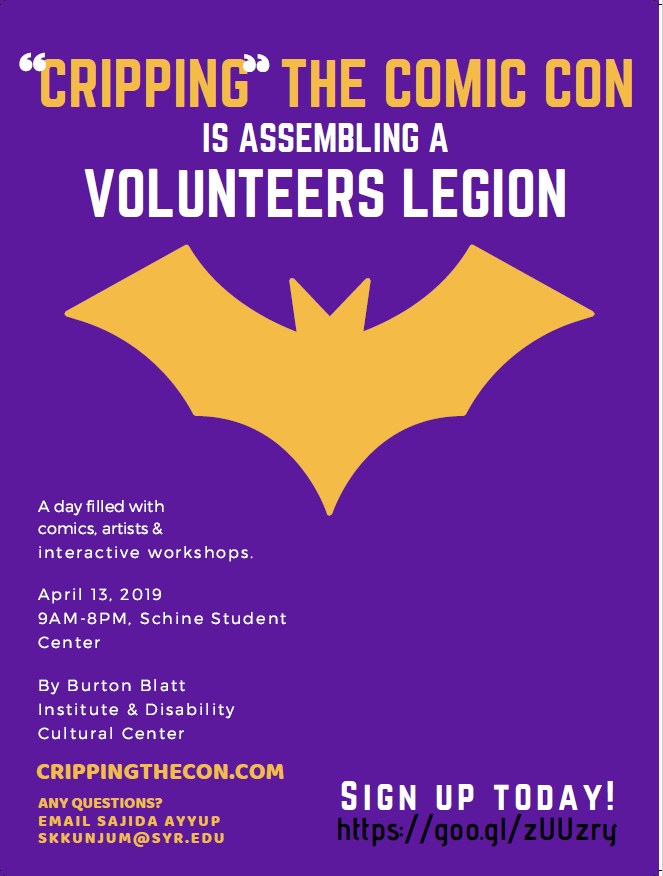 Purple poster with golden and white lettering. Golden bat symbol in upper center