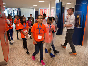 Seymour Dual Language Academy fifth-grade students visit Manley Field House during 2017's Shadow Day.