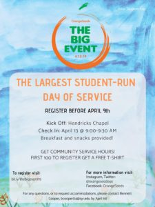 Big Event Poster words on blue water color, all text on webpage