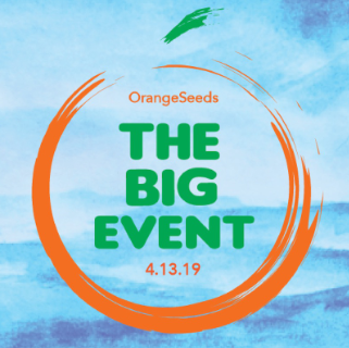 big event logo--orange circle surrounds green words which read The Big Event