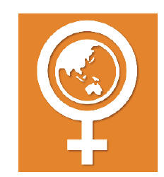 Orange background with white women's symbol and image of globe in its center