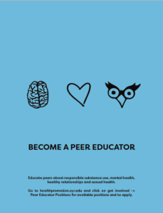 "blue background with three tiny drawings: brain, heart, owl eyes and the words ""Become a Peer Educator"""