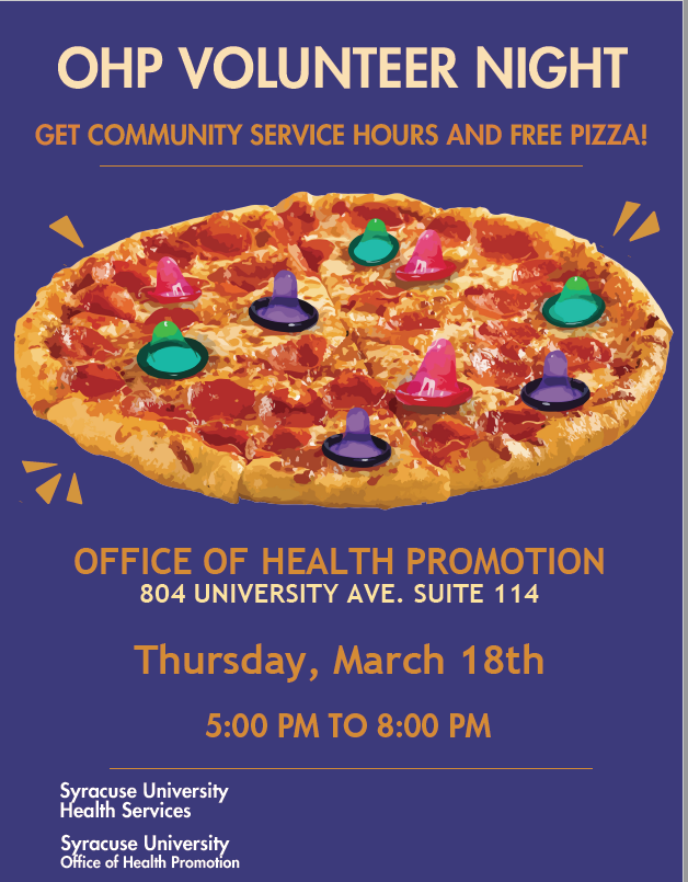 poster with details listed in the post and a picture of a pizza with condoms on it--ok yuck!