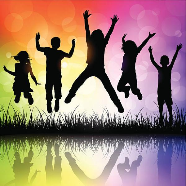 water color rainbow effect with silhouettes of five children jumping with arms raised