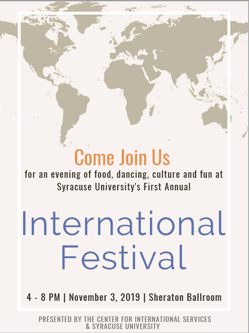 International Festival poster with information from text of webpost and image of contents in grey shadow