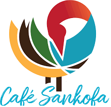 Cafe Sandofa logo yellow, red, green, brown and red styalized image that looks like a bird