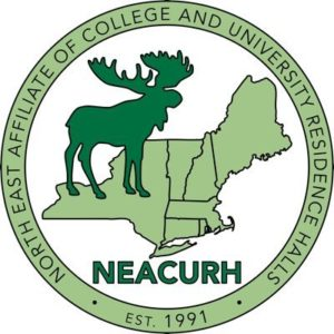 seal of NEACURH which is outline of northeastern states with silhouette of a moose and the name of the organization in a circle around these two elements