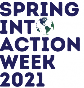 Spring into Action Week 2021 spelled out in letters