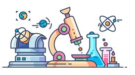 cartoon images of tools of scientific inquiry, microscope to telescope