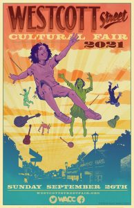 Westcott Street Fair poster, coloful cartoon with people and floating instruments in the air