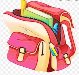 cartoon backpack full of school supplies