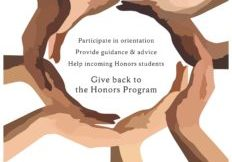 Poster for Honors Peer Mentorship Program. Image of hands making a circle