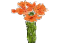 orange and green flower