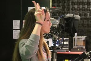 Eileen Spath in radio sound booth