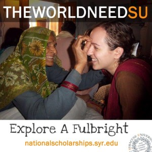 "Student interacting with older woman with text ""The World Needs U"" and ""Explore a Fulbright."""