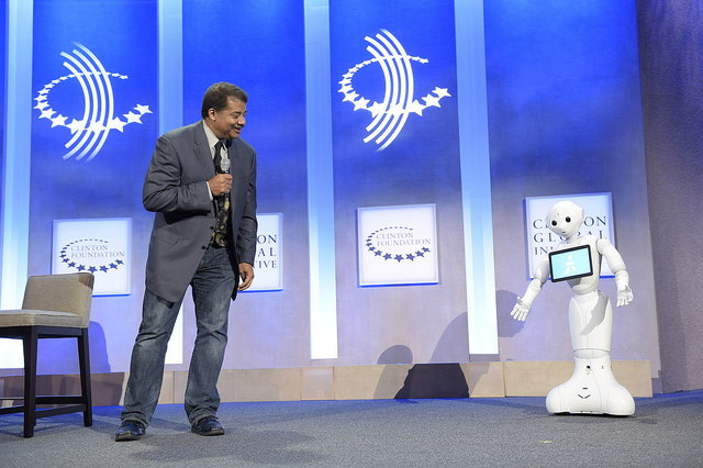 Niel DeGrasse Tyson and Pepper at Clinton Global Initiative Summit