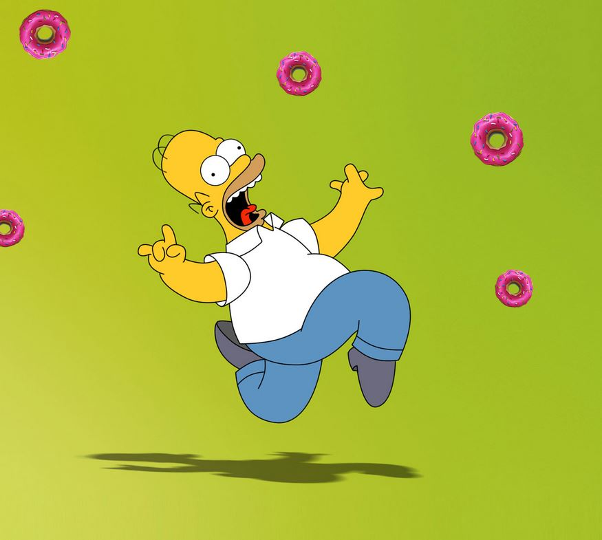 Homer Simpson Chasing Donuts