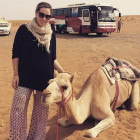 Rachel Bass posing with a camel