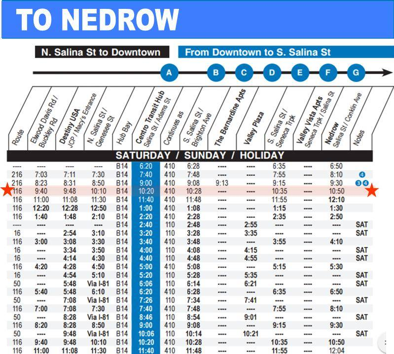 bus route times to Nedrow