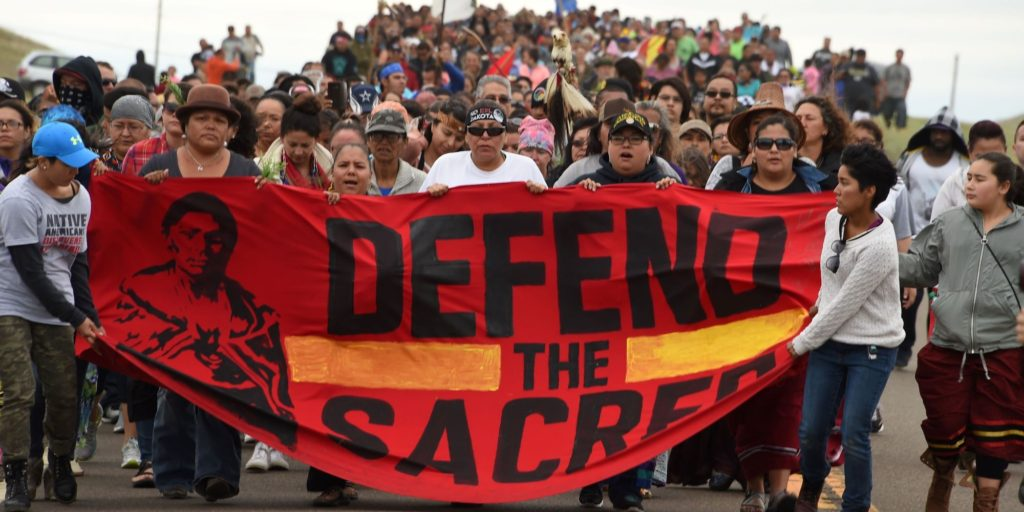 protest march at Standing Rock