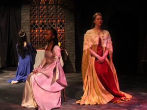 2 Women in costume for Shakespeare play