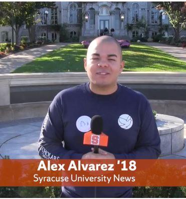 Alex Alvarez in front of Pan Am Memorial.