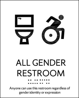 "Drawing of toilet and person in wheelchair. Text is below reading ""All Gender Restroom. Anyone can use this restroom regardless of gender identity or expression."" Includes braille."