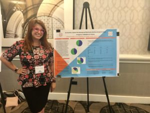 Danielle LIppman standing next to poster at conference