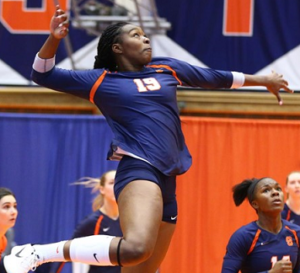 Santita in action during a volleyball game