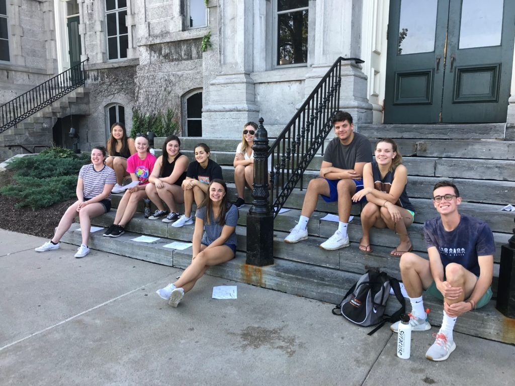 Students gathered on the steps of Hall of Languages