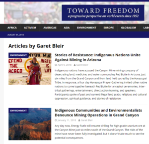 "Articles by Garet Bleir in ""Torward Freedom"" publication"