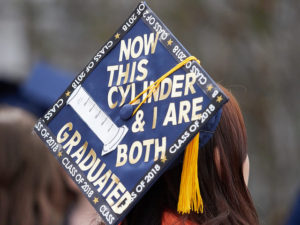 "Grad Cap quote: ""now this cylinder and I are both graduated"""