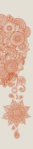 geometric batik pattern in orange on grey background