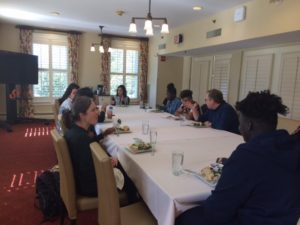 Picture of Honors Alum, Emily LoBraico having lunch with Honors students
