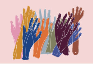 colorful drawing of multiple hands raised